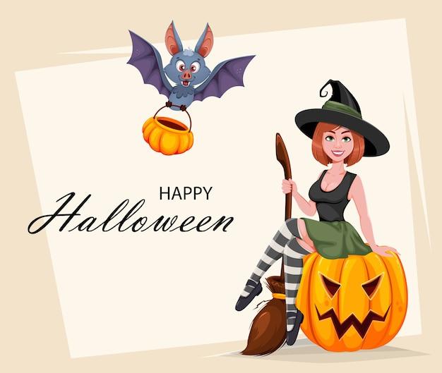 Glückliche halloween-grußkarte. schöne hexe Premium Vektoren