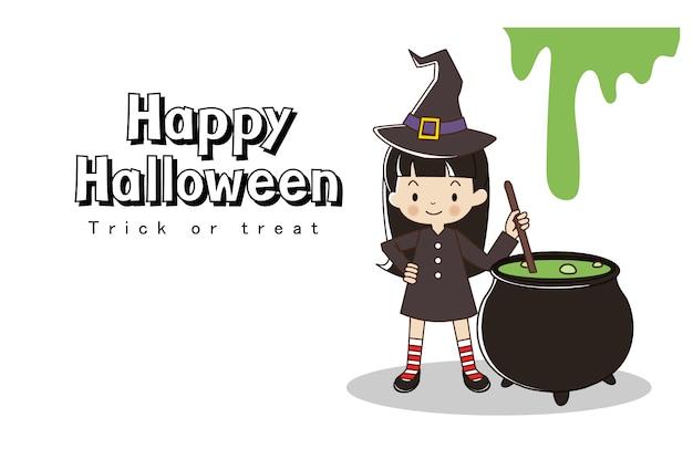 Glückliche halloween-grußkarte. süßes oder saures. kleines mädchen im hexenkostüm mit hexentopf. Premium Vektoren