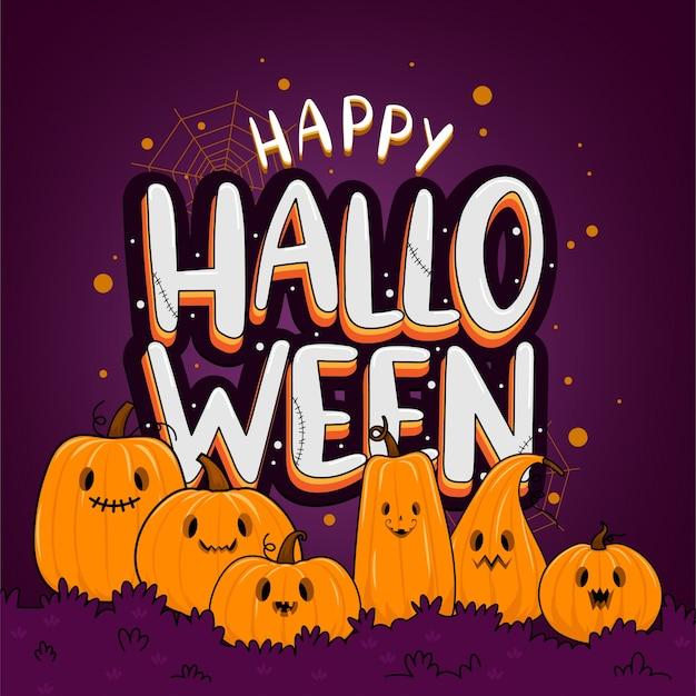 Glückliche halloween-hintergrundschablone in der dunkelheit mit kürbis Kostenlosen Vektoren