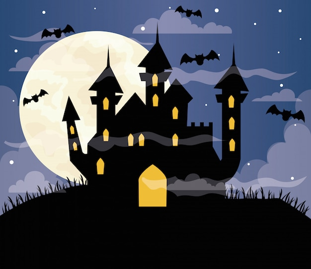 Glückliche halloween-illustration mit heimgesuchtem schloss, fliegenden fledermäusen und vollmond Premium Vektoren