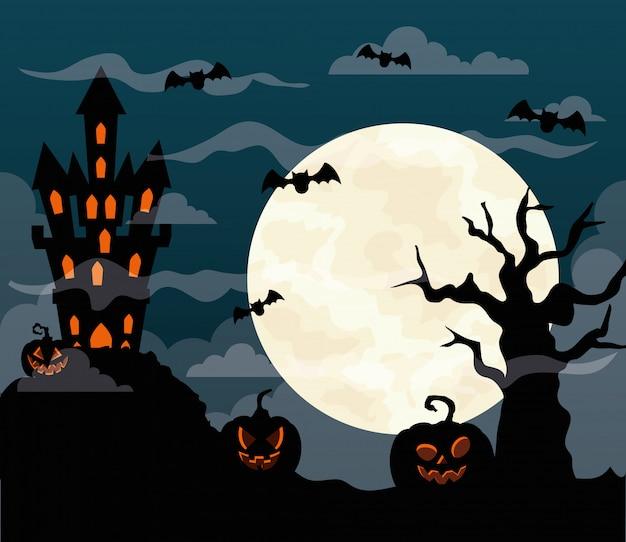 Glückliche halloween-illustration mit schloss heimgesucht, kürbisse, fliegende fledermäuse, trockener baum und vollmond Premium Vektoren