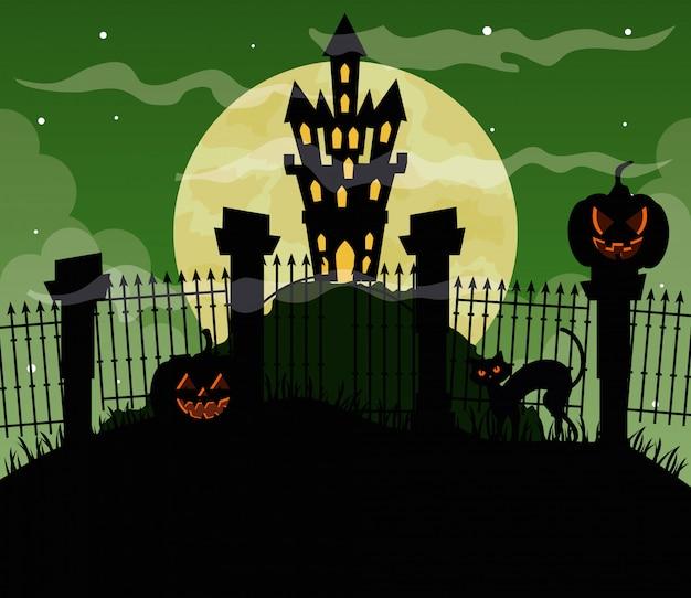 Glückliche halloween-illustration mit schloss heimgesucht und kürbissen Premium Vektoren