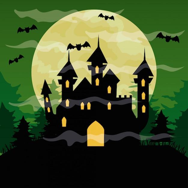 Glückliche halloween-illustration mit schloss verfolgt, fledermäuse fliegen und vollmond auf grünem himmel Premium Vektoren