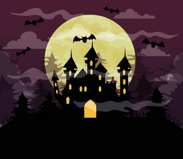 Glückliche halloween-illustration mit schloss verfolgt, fledermäuse fliegen, vollmond in der dunklen nacht Premium Vektoren