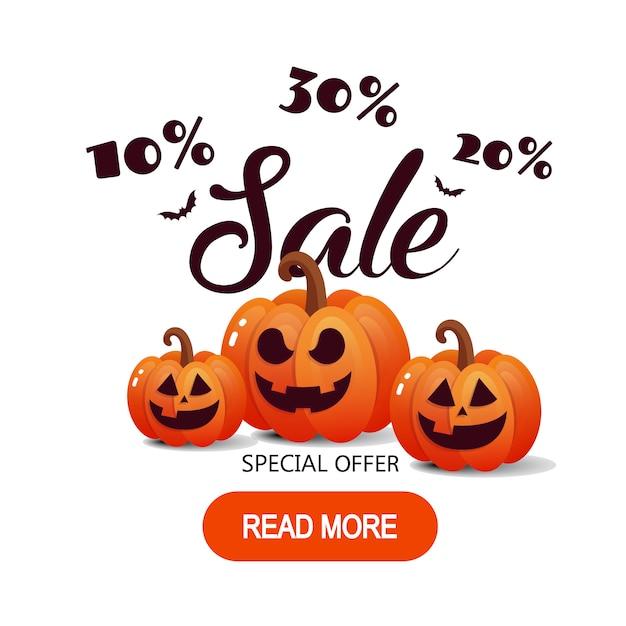 Glückliche halloween-kalligraphie mit papierschlägern und kürbisen. Premium Vektoren