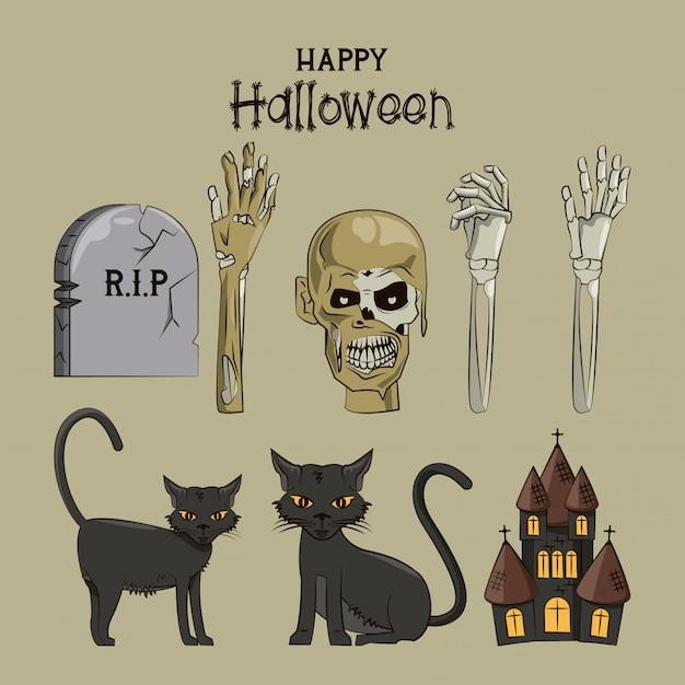 Glückliche halloween-karikaturen Premium Vektoren