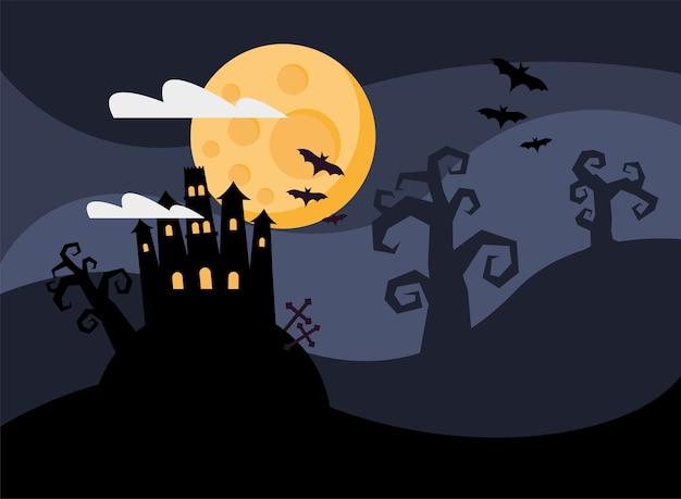 Glückliche halloween-karte mit spukschloss bei nacht vektor-illustration design Premium Vektoren