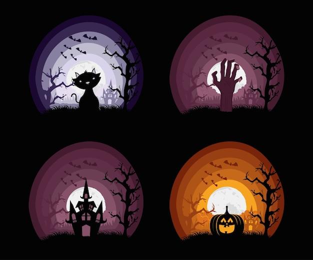 Glückliche halloween-karte mit vier eingestellten szenenvektorillustrationsentwurf Premium Vektoren