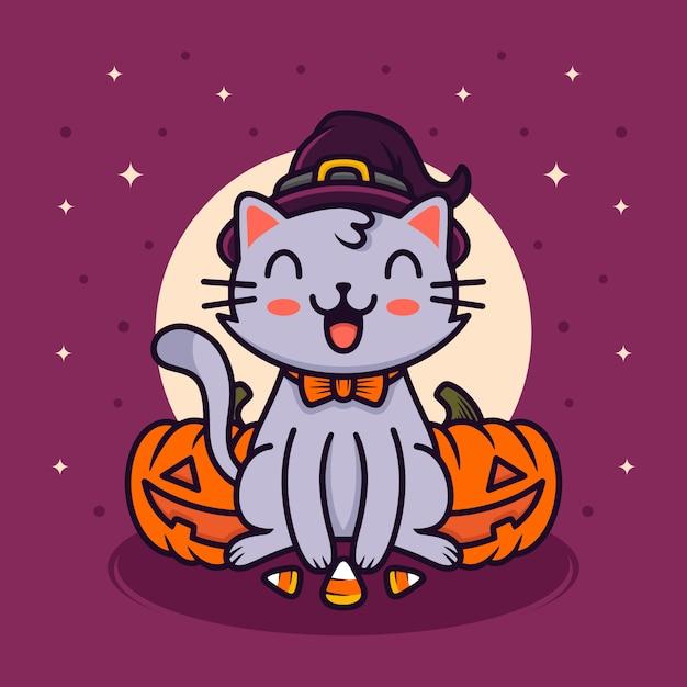 Glückliche halloween-katzenillustration Premium Vektoren