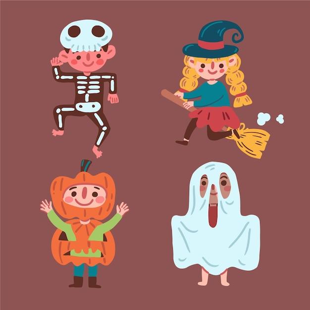 Glückliche halloween-kinderkollektion Kostenlosen Vektoren