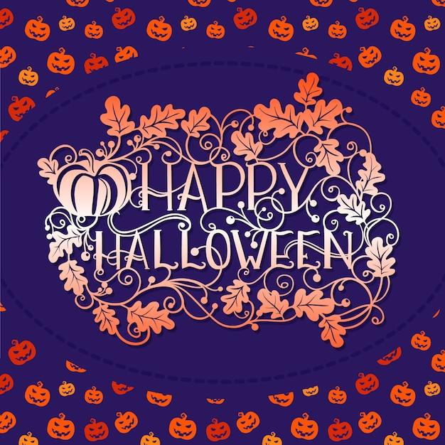 Glückliche halloween-musterkürbistypographie Premium Vektoren