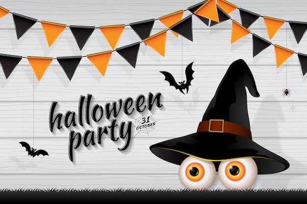 Glückliche halloween-partei süßes sonst gibt's saures augen der fahne Premium Vektoren
