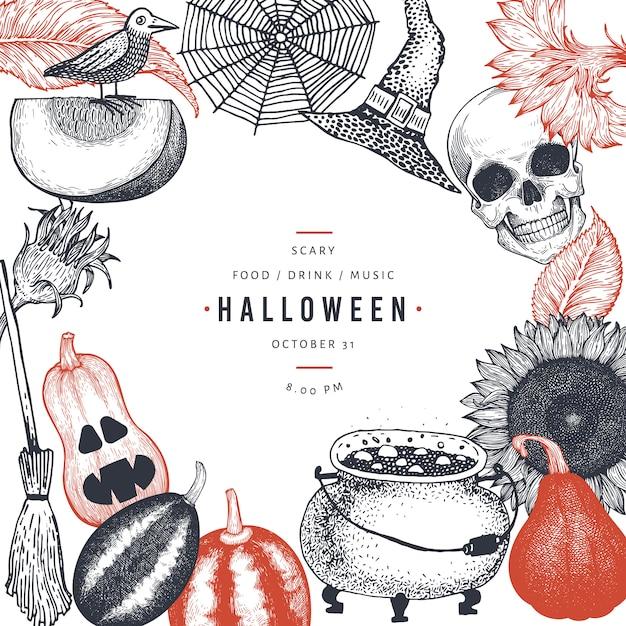 Glückliche halloween-parteieinladungs-kartenschablone mit furchtsamen elementen der skizze Premium Vektoren