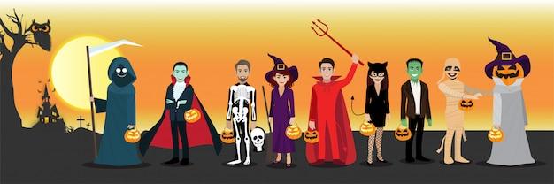 Glückliche halloween-party mit zeichentrickfilm-figur im halloween-kostüm. Premium Vektoren