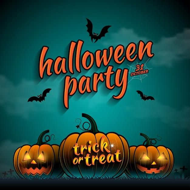 Glückliche halloween-party süßes sonst gibt's saures kürbise Premium Vektoren
