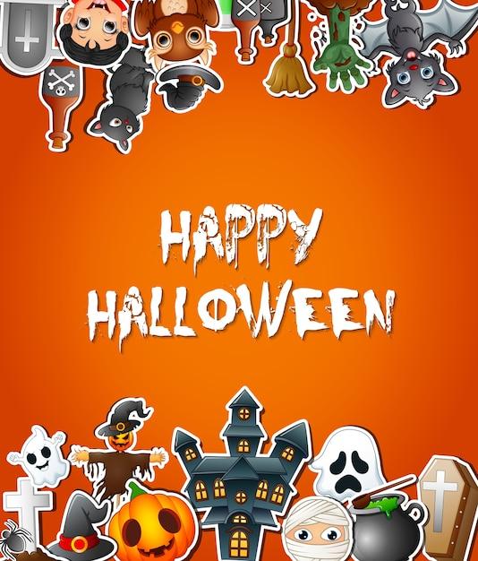 Glückliche halloween-plakatkartenfeiern mit aufklebern Premium Vektoren
