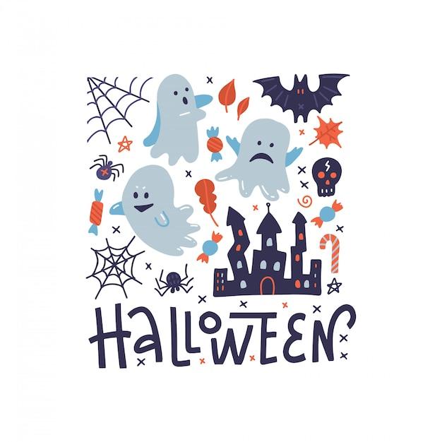 Glückliche halloween quadratische mustergrußkarte mit geistern, schwarzer spinne, unheimlichem schloss und spinnennetz. Premium Vektoren