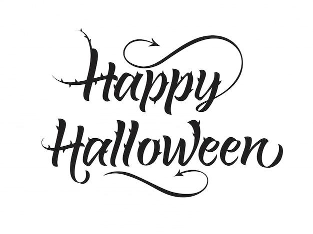 Glückliche halloween-schriftzug mit spikes Kostenlosen Vektoren