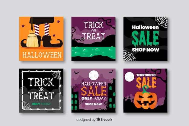 Glückliche halloween-verkäufe für instagram beitragssammlung Kostenlosen Vektoren