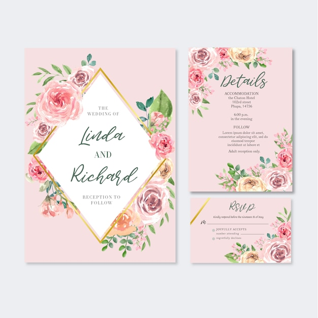 Glückliche hochzeitskartenblumengarteneinladungs-kartenheirat, uawgdetail. Kostenlosen Vektoren