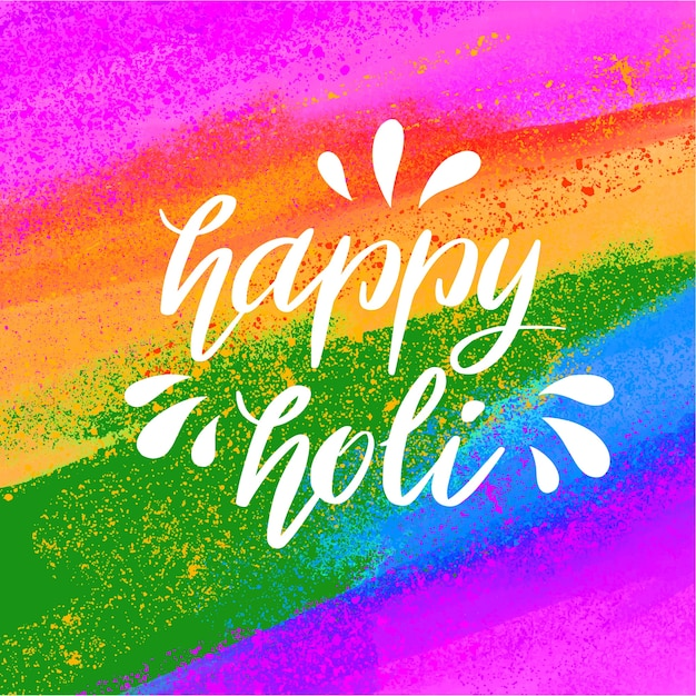 Glückliche holi beschriftung mit regenbogenfarbenhintergrund Kostenlosen Vektoren