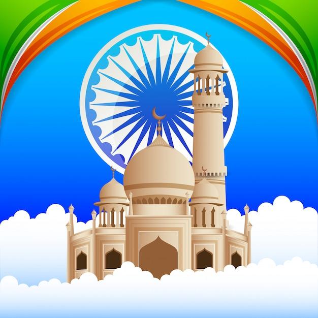 Glückliche indien-unabhängigkeitstagkarte Premium Vektoren