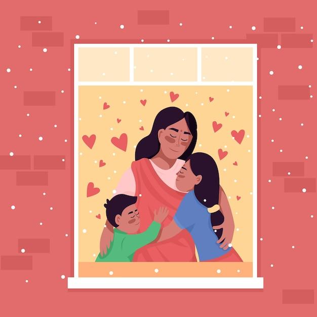 Glückliche indische familie in der hauptfenster-farbillustration. Premium Vektoren