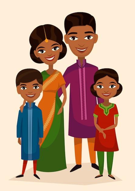Glückliche indische familienpaare mit kindern Premium Vektoren