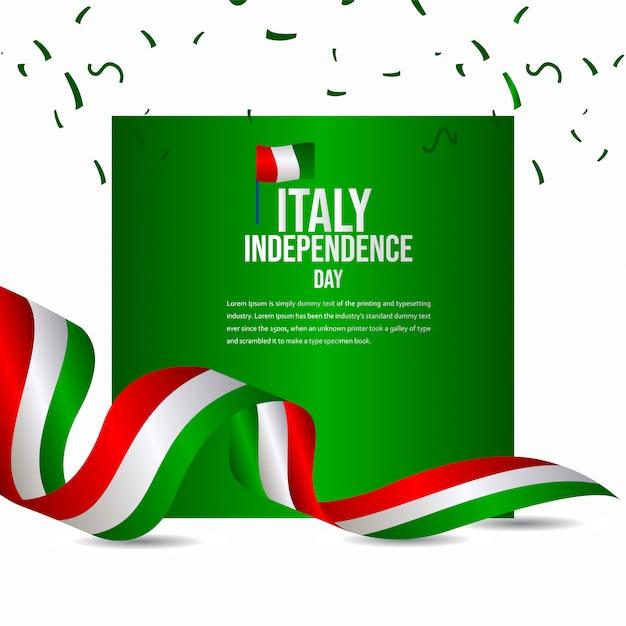 Glückliche italien-unabhängigkeitstag-feier-vektor-schablone Premium Vektoren