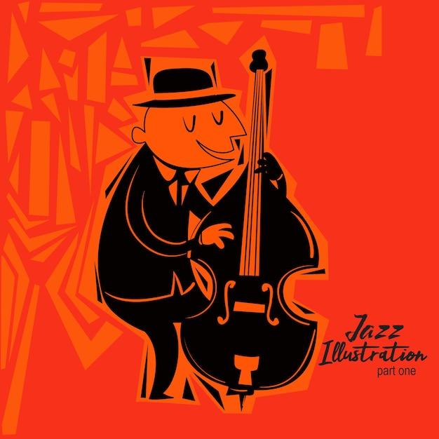 Glückliche jazz guy illustration Premium Vektoren