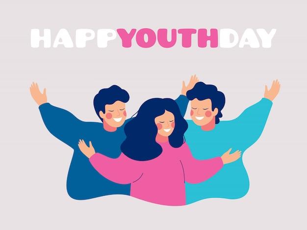 Glückliche jugendtagesgrußkarte mit den lächelnden jungen leuten, die sich umarmen Premium Vektoren