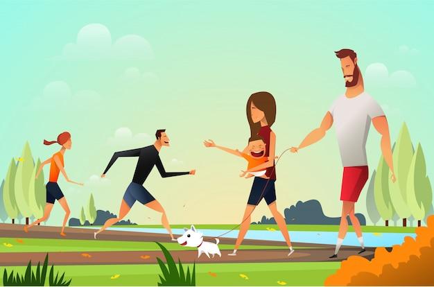 Glückliche junge familie mit einem kleinen hund im park Premium Vektoren