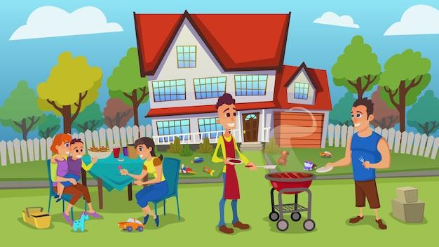 Glückliche junge familien haben draußen freizeit in der yardillustration Premium Vektoren
