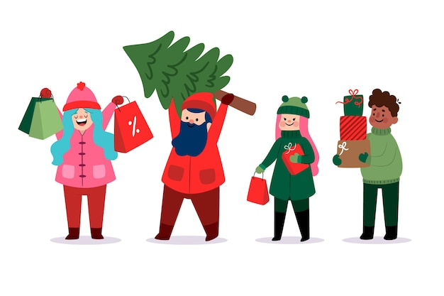 Glückliche junge leute, die geschenke und baum holen Kostenlosen Vektoren