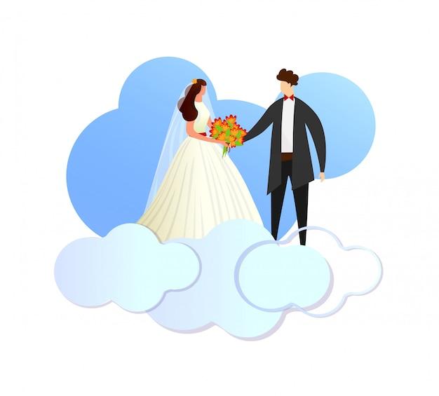 Glückliche jungvermählten, die paare auf wolken stehen. Premium Vektoren