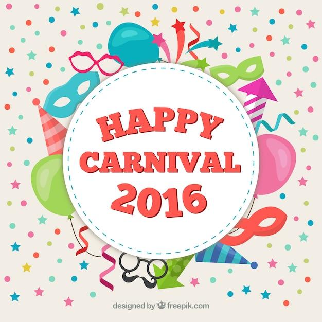 Glückliche karneval 2016 label Kostenlosen Vektoren