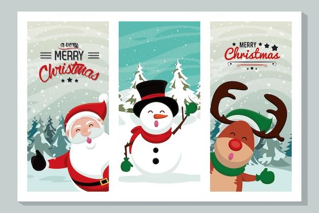 Glückliche karte der frohen weihnachten mit netten charakteren Premium Vektoren