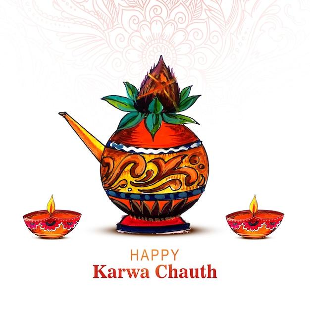 Glückliche karwa chauth karte auf kalash hintergrund Kostenlosen Vektoren