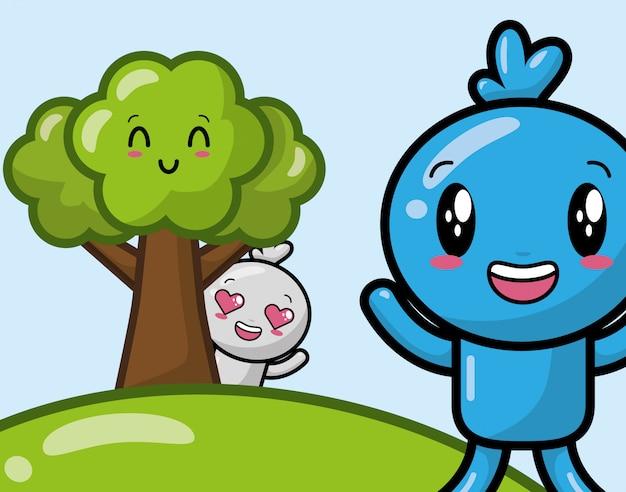 Glückliche kawaii charaktere auf park, karikaturart Kostenlosen Vektoren