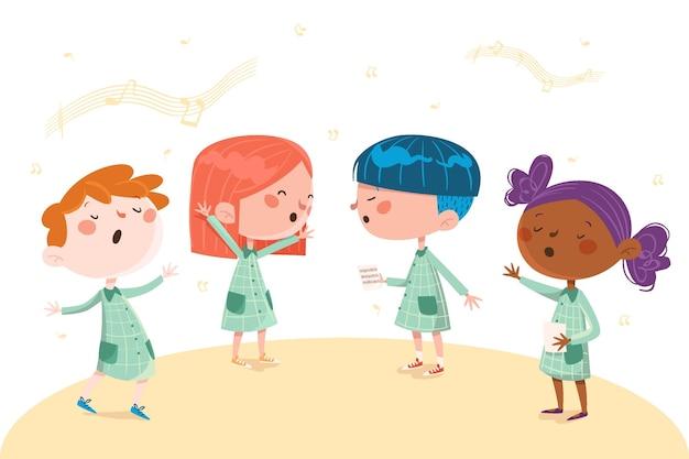 Glückliche kinder, die in einer chorillustration singen Premium Vektoren