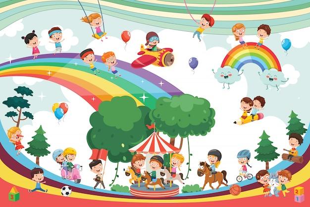 Glückliche kinder, die landschaftsillustration spielen Premium Vektoren