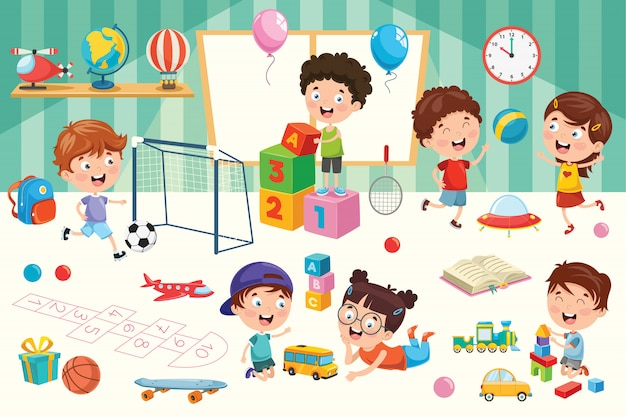 Glückliche kinder, die mit spielwaren spielen Premium Vektoren