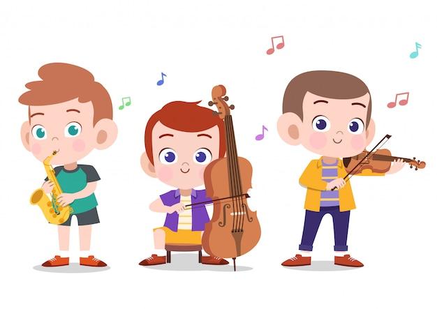 Glückliche kinder, die musik spielen Premium Vektoren