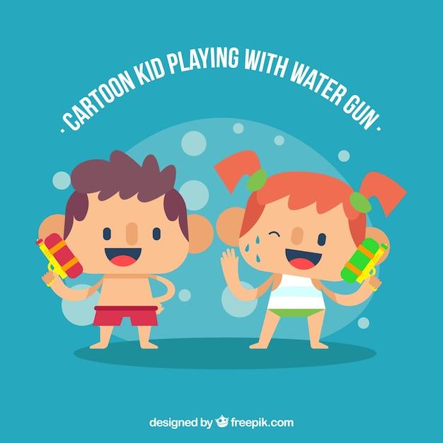 Glückliche kinder, die wasserwerfer spielen Kostenlosen Vektoren
