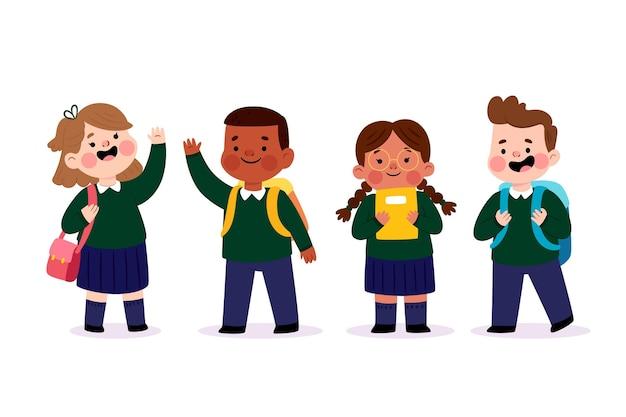 Glückliche kinder, die zurück zur schule stehen Kostenlosen Vektoren