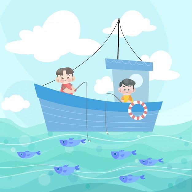 Glückliche kinder, die zusammen fischen Premium Vektoren