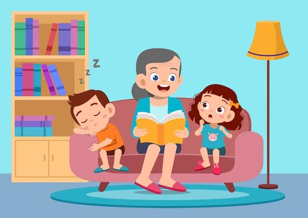 Glückliche kinder hören die geschichte von großmutter Premium Vektoren