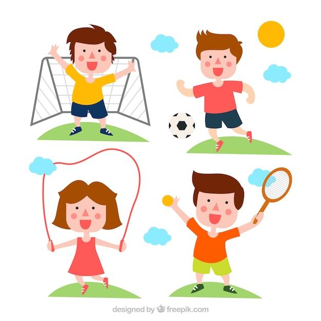 Glückliche kinder, ich treibe sport Kostenlosen Vektoren