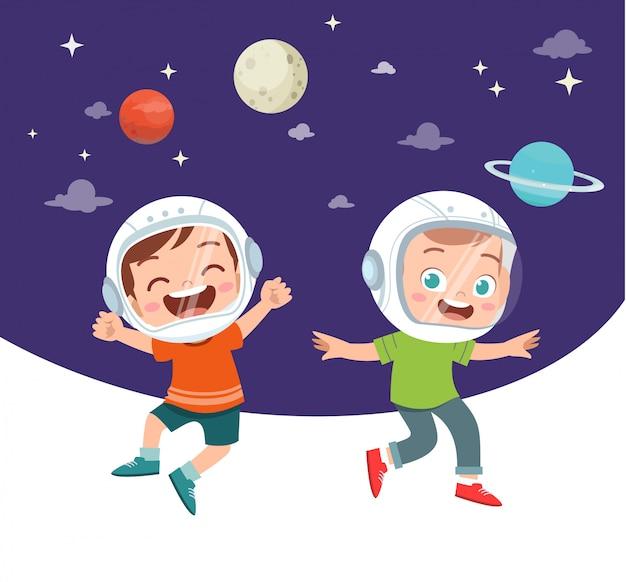 Glückliche kinder lernen astronomie Premium Vektoren