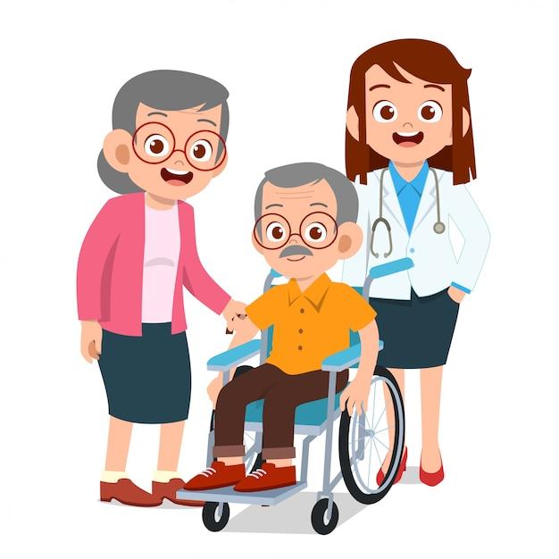 Glückliche kinder mit großeltern Premium Vektoren